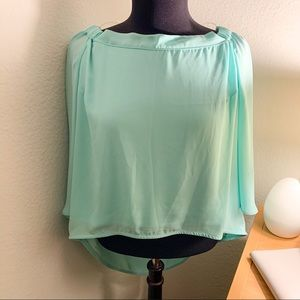 Tops - NWT Mint Off the Shoulder Crop Top (Large)